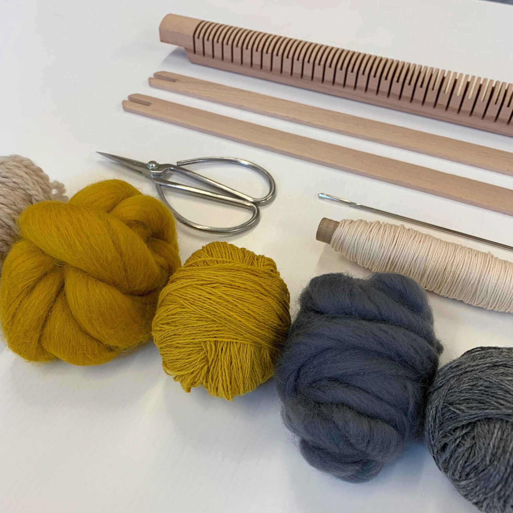 Pamela Print Weaving Loom Kit with Mustard yellow + Grey Yarn Pack